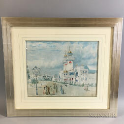 Framed Architectural Watercolor Study of the 1902 World's Fair
