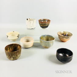 Eight Studio Pottery Tea Bowls