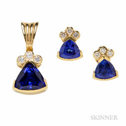 14kt Gold, Diamond, and Tanzanite Earrings and Pendant