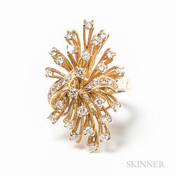 14kt Gold and Diamond Cluster Cocktail Ring