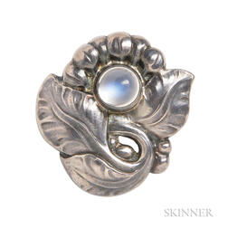 .830 Silver and Moonstone Brooch, Georg Jensen