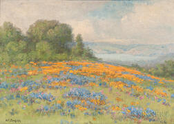 William Franklin Jackson (American, 1850-1936)      Field of Poppies and Lupine with View to a Bay