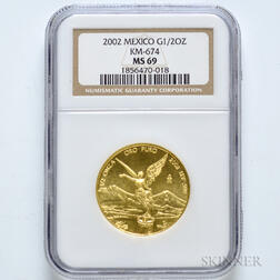 2002 Mexican Half Onza Gold Coin, NGC MS69.