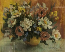 Edith Alice Scott (American, 1877-1978)      Floral Still Life in a Yellow Bowl