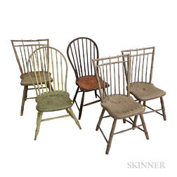 Five Painted Bamboo-turned Windsor Side Chairs