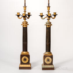 Pair of Patinated- and Gilt-bronze Candelabra Table Lamps
