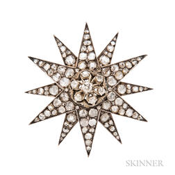 Rose-cut Diamond Starburst Brooch