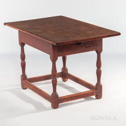 Red-painted Tavern Table with Drawer