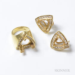 14kt Gold and Diamond Ring Mount and Pair of Earring Mounts