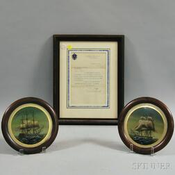 Framed Calvin Coolidge Letter and a Pair of Reverse-painted Ship Portraits