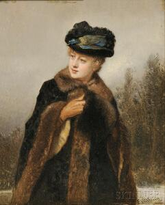 Florent Willems (Belgian, 1823-1905)      Portrait of a Woman with a Fur-lined Coat