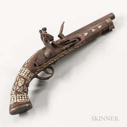 Non-functional Middle Eastern-style Bone-inlaid Flintlock Pistol