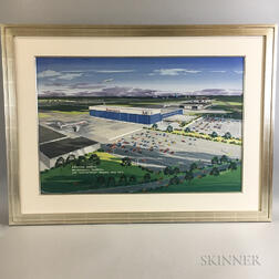 Framed Oil on Board Rendering of the American Airlines Maintenance Facilities at JFK Airport