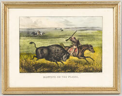 Currier & Ives Lithograph HUNTING ON THE PLAINS.