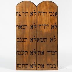 Two Large Paint-decorated Odd Fellows Ten Commandments Tablets