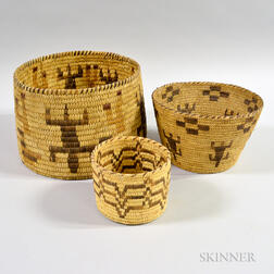 Three Tohono O'odham Baskets