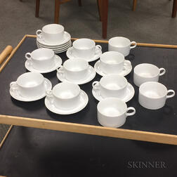 Twelve White Schmid Porcelain Teacups and Saucers.