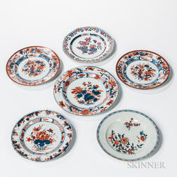 Seven Imari and Imari Palette Export Porcelain Table Items