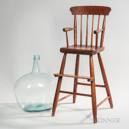 Birch and Pine Windsor High Chair and an Aqua Glass Demijohn