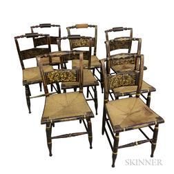 Assembled Set of Eight Grain-painted and Stenciled Fancy Chairs