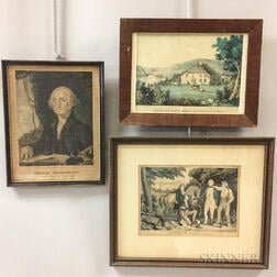 Three Framed Currier & Ives Lithographs
