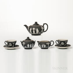 Seven-piece Wedgwood Black Jasper Dip Tea Set