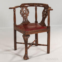 Georgian-style Walnut Corner Armchair