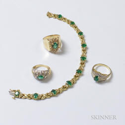 Three 14kt Gold, Emerald, and Diamond Rings and a 14kt Gold, Emerald, and Diamond Bracelet