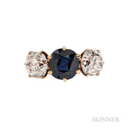 18kt Gold, Sapphire, and Diamond Three-stone Ring