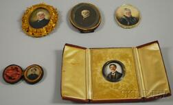 Three Portrait Miniatures and a Related Photograph and Tintype