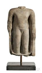 Large Sandstone Gupta Torso of Buddha