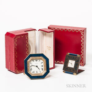Two Boxed Cartier Travel Clocks
