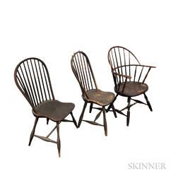 Two Bow-back Windsor Chairs and a Sack-back Windsor Chair