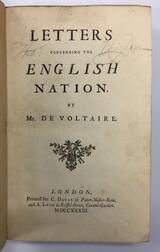 Voltaire (1694-1778) Letters Concerning the English Nation.
