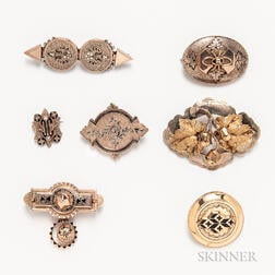 Group Victorian Low-karat Gold Brooches