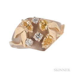 18kt Gold, Yellow Diamond, and Diamond Ring, R.W. Wise