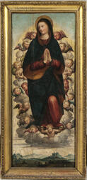 Spanish or Spanish Colonial School, 17th Century Style      Vision of the Madonna Surrounded by Cherubs