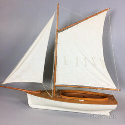 Early 20th Century Carved and Painted Wood Gaff-rigged Pond Boat