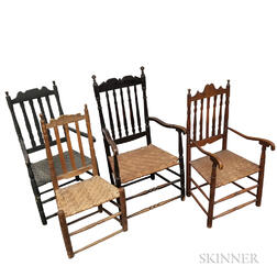 Three Bannister-back Armchairs and a Side Chair