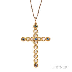 Art Nouveau 14kt Gold, Sapphire, and Pearl Cross