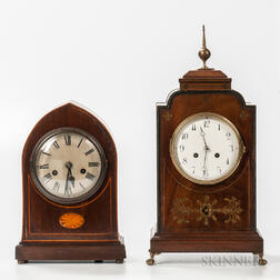Two Inlaid Mahogany Veneered Bracket Clocks