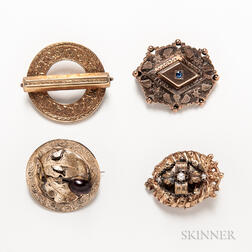 Four Antique Gold Brooches