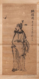Hanging Scroll Depicting Zhong Kui with a Bat
