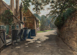 Francis Hopkinson Smith (American, 1838-1915)      Cottages and Sun-dappled Path