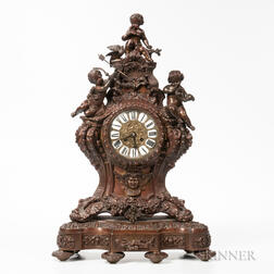 Ornate Cast Metal and Brass Mantel Clock