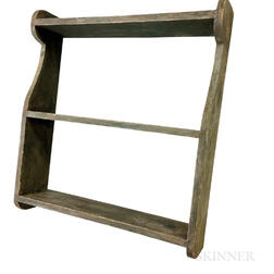 Green-painted Wood Three-tier Whale-end Wall Shelf