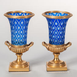 Pair of Gilt-bronze and Overlay Cut Glass Vases