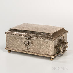 Silver Box with Handles and Chains