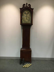 German Painted Pine Tall Case Clock