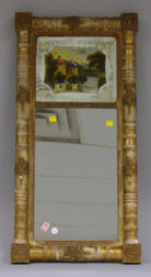 Late Federal Giltwood Split-baluster Mirror with Reverse-painted Glass Tablet   Depicting a Pondside Home